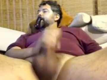 Bearded Daddy Masturbates His Big Penis While Smoking